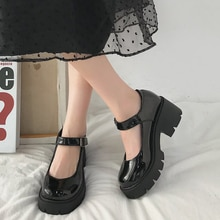 2021 New Black High Heels Shoes Women Pumps Fashion Patent Leather Platform Shoes Woman Round Toe Ma