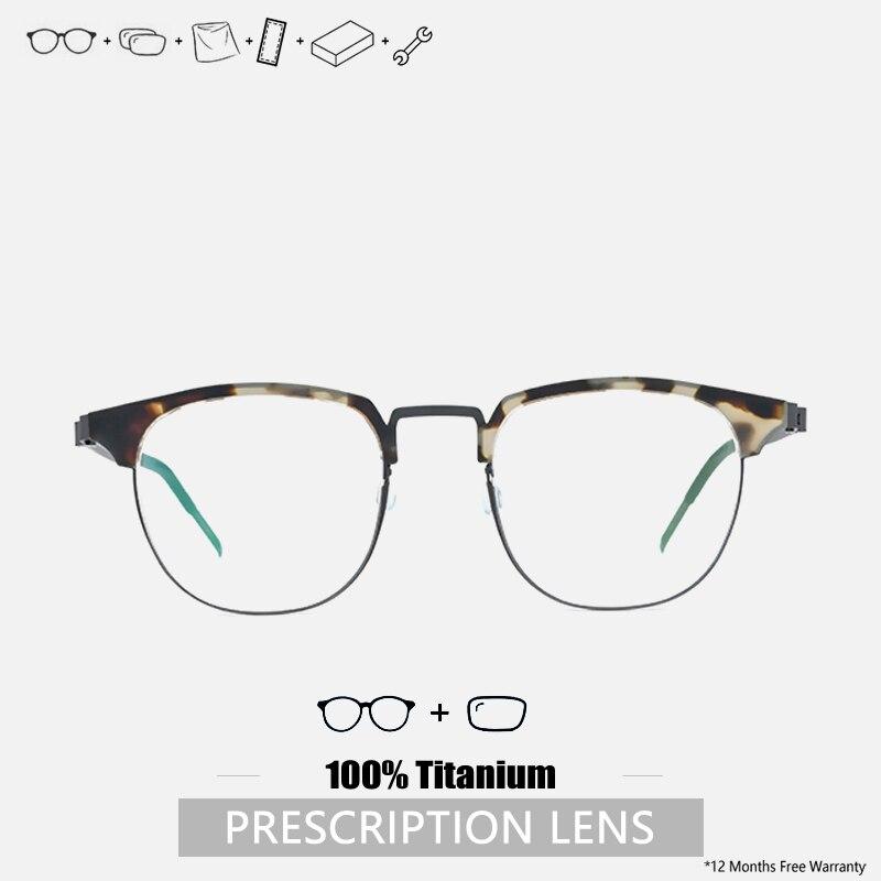 Titanium Acetate Prescription Eyeglasses Half Frame Screwless Glasses Designer Frames For Prescripti