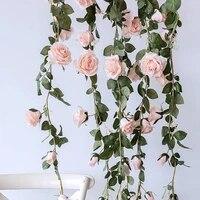 Guirlande de roses artificielles en soie  2m  fausses fleurs  pour une decoration de mariage  pour la maison