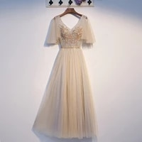 champagne bridesmaid dress short sleeves lace up back floor length wedding party dress 2021 new arrival