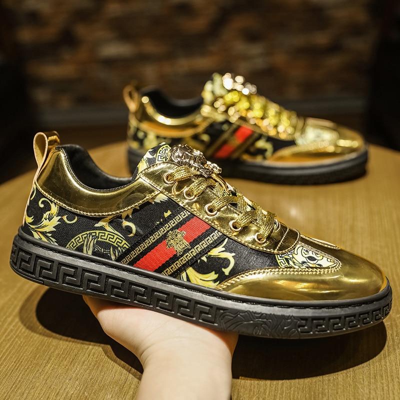Designer mens shoes 2021 luxury brand gentleman fashion print trend high quality gold casual flat