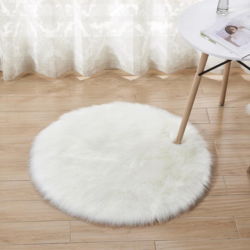 Alfombra de felpa alfombra para salón Yoga alfombra de suelo Alfombra de lana de imitación decoración del hogar sala de estar accesorios de mesa