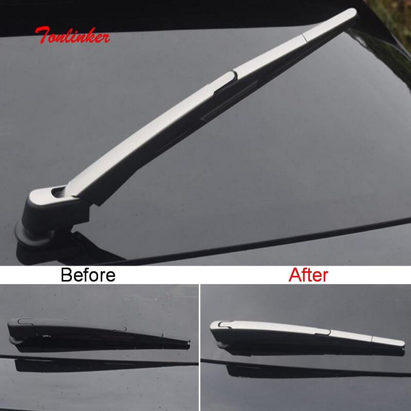 Tonlinker 4 قطعة سيارة ماسحة خلفية الديكور غطاء ملصق لسيتروين DEESSE DS7 2018-19 سيارة التصميم الفولاذ المقاوم للصدأ غطاء ملصقات