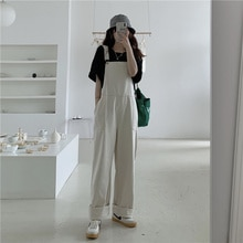 Suspenders Pants Korean College Style Loose And Straight Tube Wide Leg Pants High Waist Slim Age Red