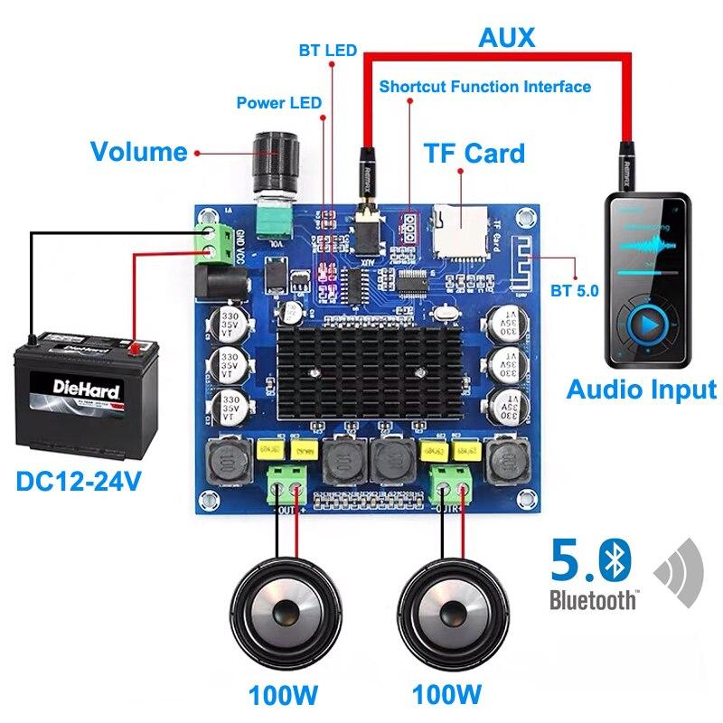 2*100W TPA3116 Bluetooth 5,0 Digital amplificador de potencia de Audio de alta fidelidad de sonido de doble canal CLASE D ESTÉREO Aux TF Tarjeta de Amp
