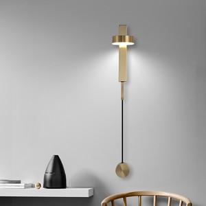 Светодиодная комнатная настенная лампы поворота переключатель с затемнением светодиодный настенный светильник Современный вакуумно wall Art deco стены Бра Гостиная Золотой светодиодный светильник