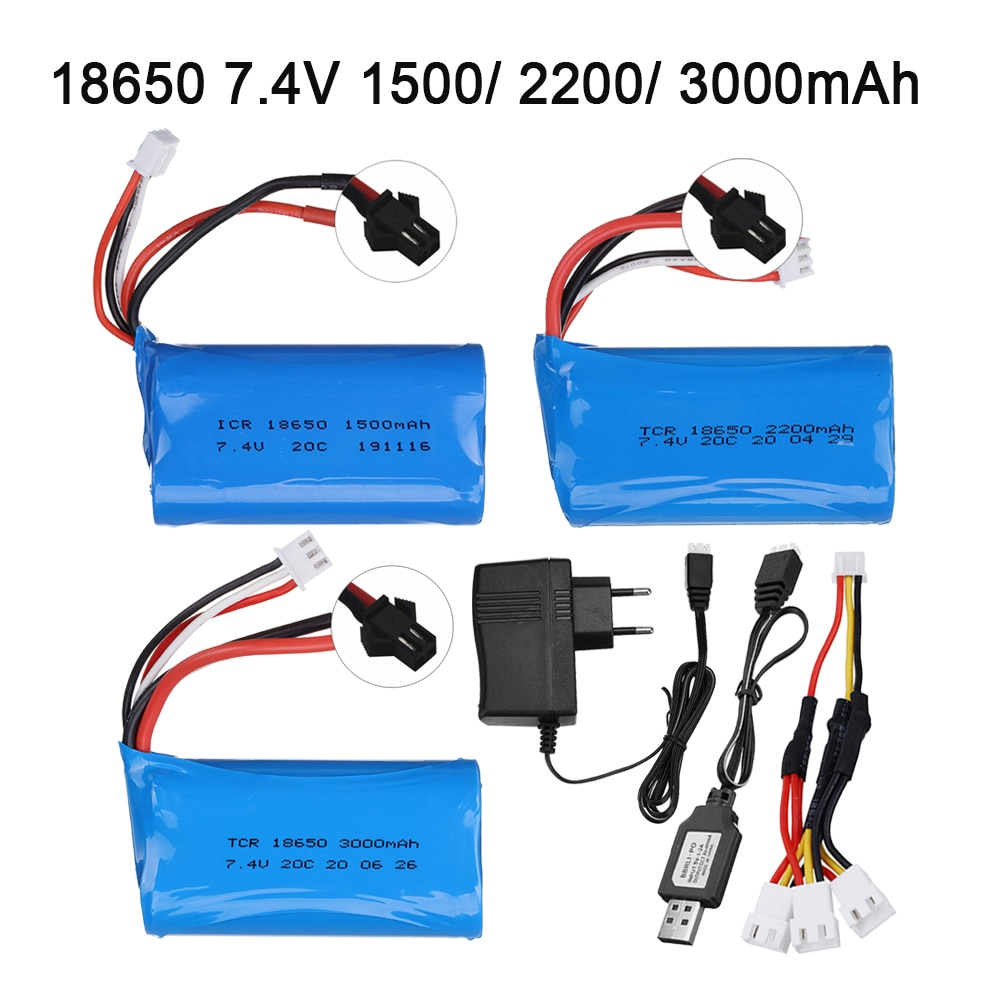 7.4V 1500mAh/2200mah/3000mah 18650 Battery for WPL MN99S D90 U12A S033g Q1 H101 SM 7.4V Battery Rc B
