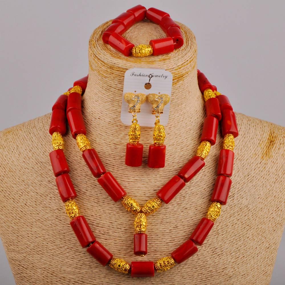 الكلاسيكية نيجيريا الزفاف الخرز الأحمر الطبيعي المرجان قلادة الزفاف الملابس والاكسسوارات الأفريقية النساء مجوهرات الزفاف مجموعة AU-595