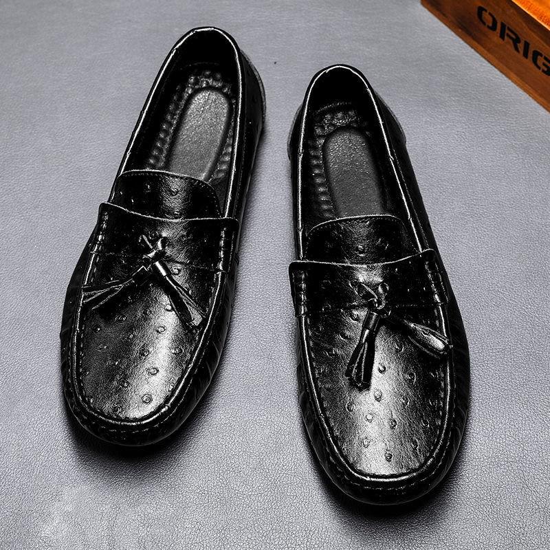 2021 حذاء رجل 100% جلد طبيعي رجل حذاء مسطح حذاء بدون كعب الانزلاق على حذاء مسطح الأخفاف رجل أحذية قيادة