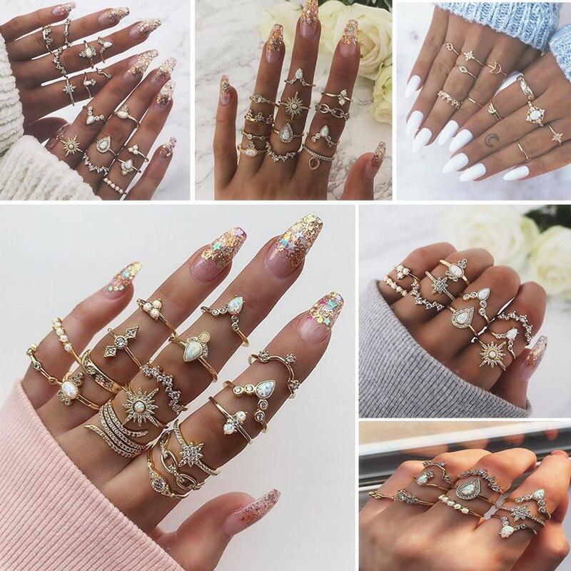 Novo design do vintage coroa de ouro estrela lua anéis definir para as mulheres boêmio opala cristal charme conjunto anel festa de casamento jóias presente