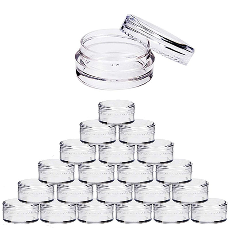 100pcs 2g/3g/5g/10g/15g/20g Empty Plastic Cosmetic Makeup Jar Pots Transparent Sample Bottles Eyesha