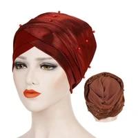 women solid india hat women muslim stretch turban pearls hat chemo cap hair loss head scarf wrap hijib cap turbantes