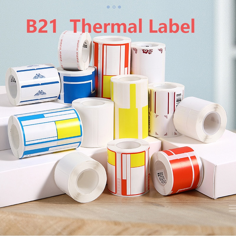 B21 Printing Label Supermarket Waterproof Anti-Oil Tear-Resistant Price Label Pure Color Scratch-Resistant Stickers Paper mini label printer paper printing label waterproof anti oil price label pure color scratch resistant label sticker r50