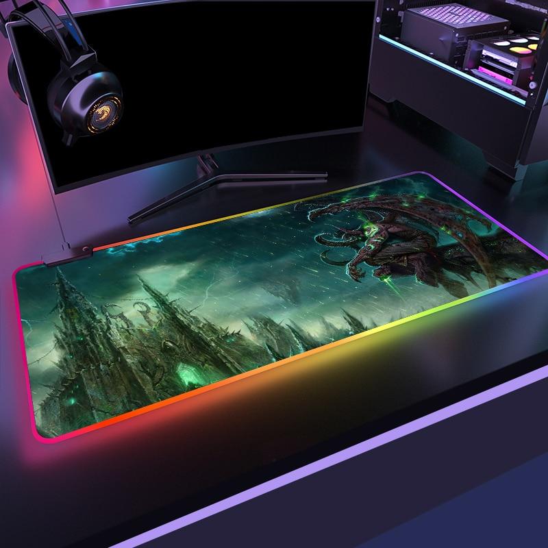 Mundo de Warcraft Teclado de Mesa Tapete de Ratos Gaming Mouse Gamer Computador Mousepad Retroiluminado Mause Grande Led Suporte Diy Rgb Pad Wow