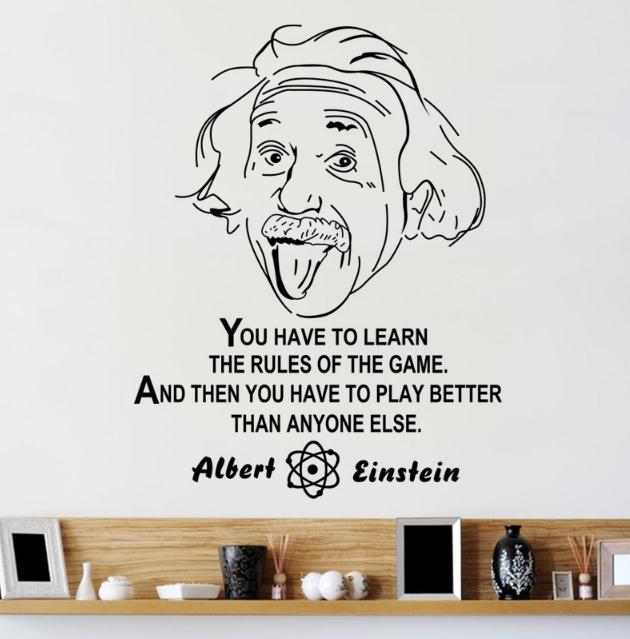 Albert Einstein inspiradora pegatina con cita pegatinas de vinilo de pared habitación dormitorio casa calcomanías