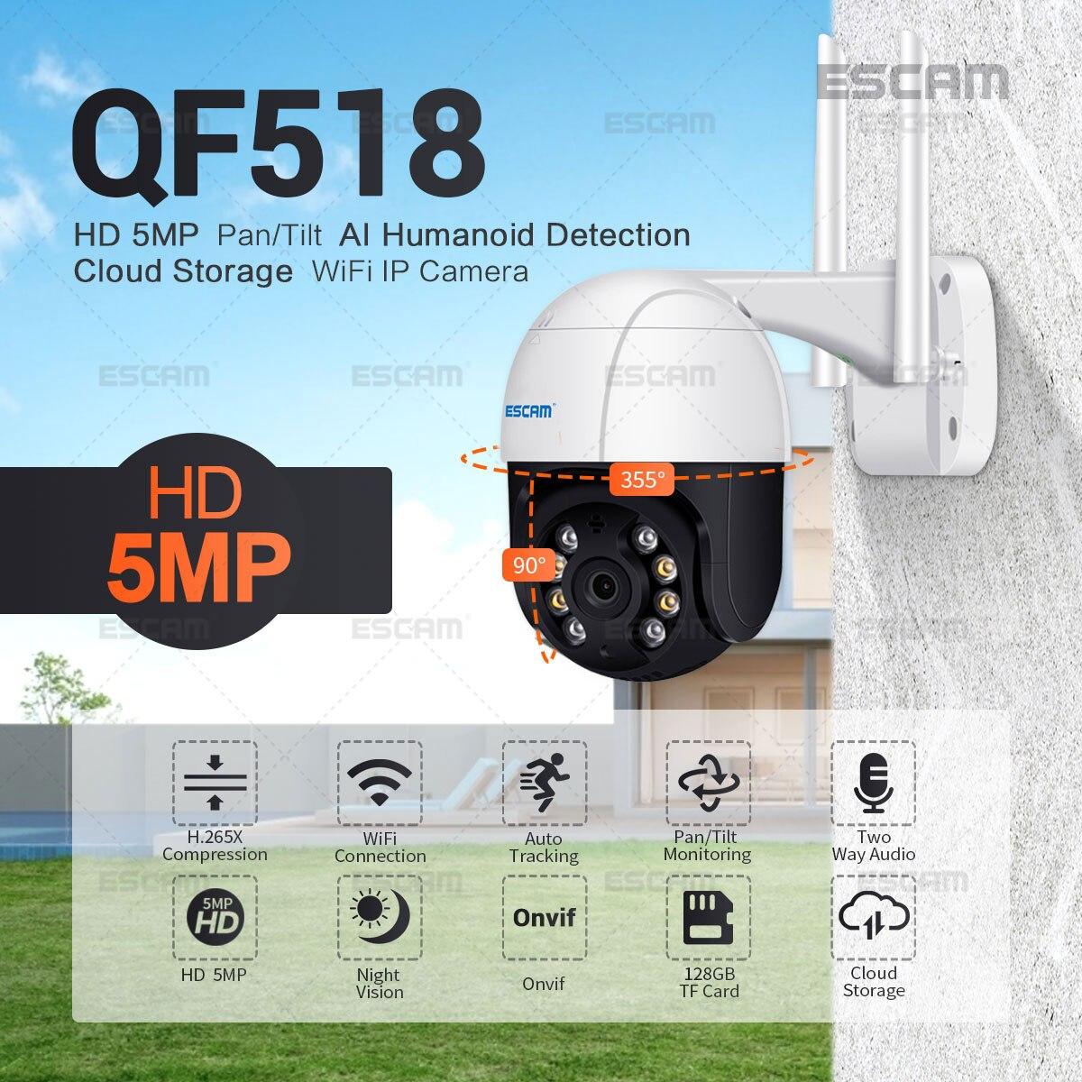 ESCAM-كاميرا IP QF518 بدقة 5 ميجابكسل (QF518) ، مع كشف بشري AI ، تتبع تلقائي ، تخزين سحابي ، WiFi ، رؤية ليلية صوتية ثنائية الاتجاه