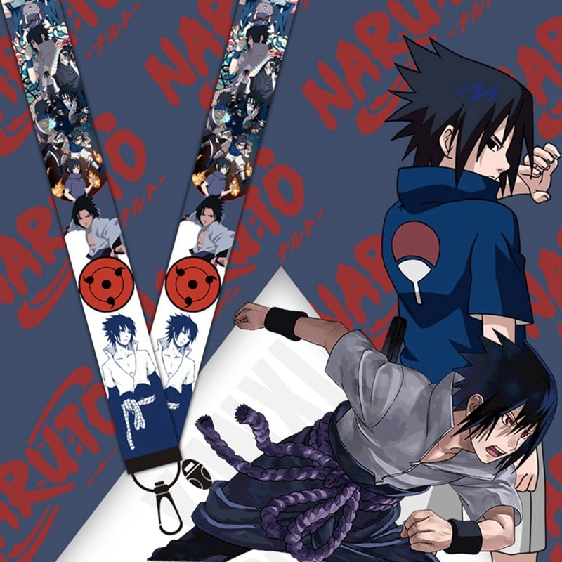 Cuerda de Sasuke de NARUTO Uchiha para teléfonos, cordones de Anime de dibujos animados, correa de teléfono, llaves, correas de cuello