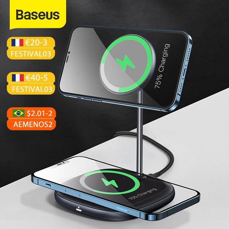 Baseus Magnetische Draadloze Oplader Voor Iphone 12 Pro Max Desktop Telefoon Stand Draadloze Oplader Voor Airpods Xiaomi Samsung