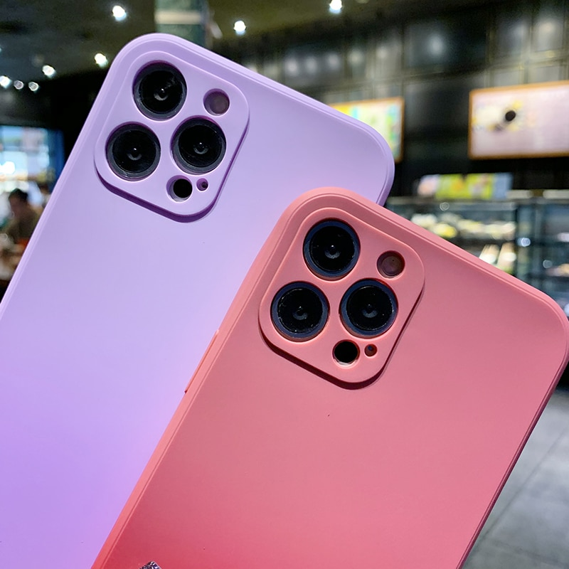 Gradient Colorful Phone Case For iPhone 12 11 Pro Max XR XS Max X 7 8 Plus 12 mini se Original Liqui