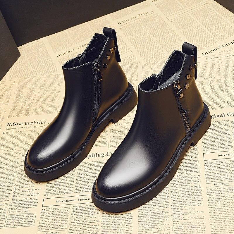 Botas tobilleras informales estilo chelsea para mujer, zapatos con plataforma, de cuero...