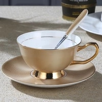 bone china coffee cup set gold painting creative british black tea cup european ceramic dish spoon