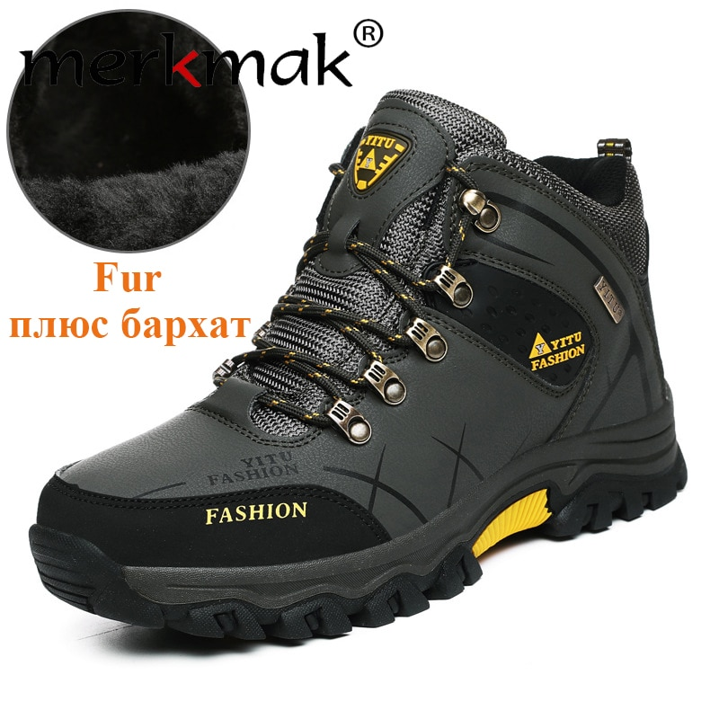 surom brand men s boots big size warm plush male leather shoes work boot warm fur winter casual snow sneakers mens ankle boots Merkmak Brand Men Winter Snow Boots Waterproof Leather Sneakers Super Warm Men's Boots Outdoor Male Hiking Boots Work Shoes