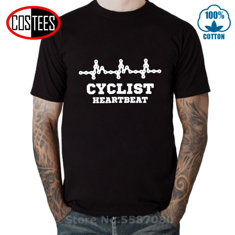 MTB CYCLING Cyclist Heartbeat T shirts men Mountain biker Tshirt Road Bike Funny BMX Bicycle Tops Men's Casual fashion Tee shirt