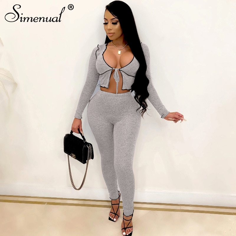 Simenual V Neck Tie Front Fall 2021 Women Matching Sets Long Sleeve Fashion Sexy Birthday Crop Top And Pants Two Piece Outfits simenual knitted ribbed bandage patchwork two piece sets women long sleeve v neck club tie front outfits crop top and pants set