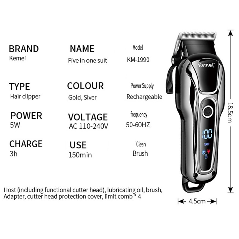 Original adjustable LCD professional hair clipper for men electric beard hair trimmer haircut machine barber cordless set enlarge