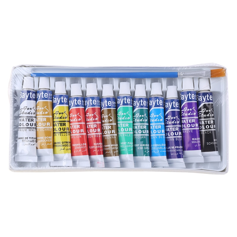 12 Colors Tubes 6ml Paint Tube Drawing Painting Watercolor Pigment Set With Brush Art Supplies C26