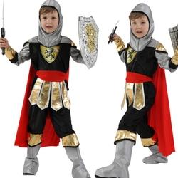 Traje de halloween cosplay crianças festa de máscaras real guerreiro cavaleiro trajes meninos soldado crianças define vestir-se