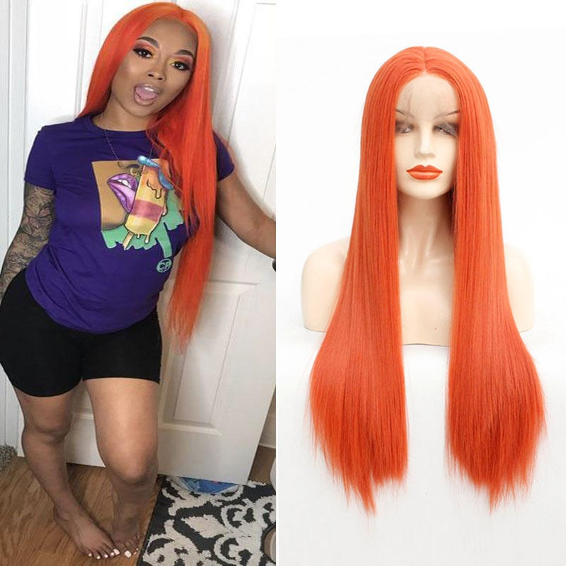 Bright Pink Orange Natural Wigs Long Straight Lace Front Synthetic Wig Heat Resistant Best Quality Cosplay for Party Wigs 26inch