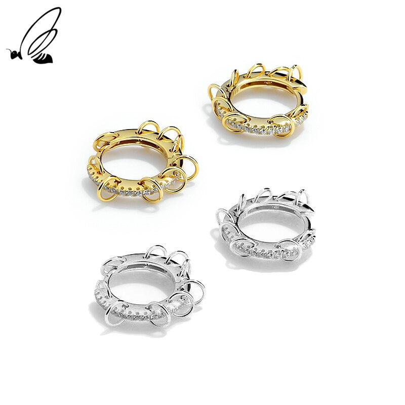 Женские серьги-кольца из серебра 925 пробы с фианитами