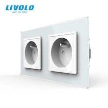 LIVOLO 16A Frence standard, wall electric / power double socket / plug, Crystal glass panel,VL-C7C1FR-11/VL-C7C1FR-11