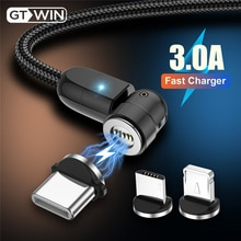 GTWIN 3A Quick Charge Magnetic USB Cable 540 Rotate Magnet Charger 2M For IPhone Xiaomi Samsung Micr