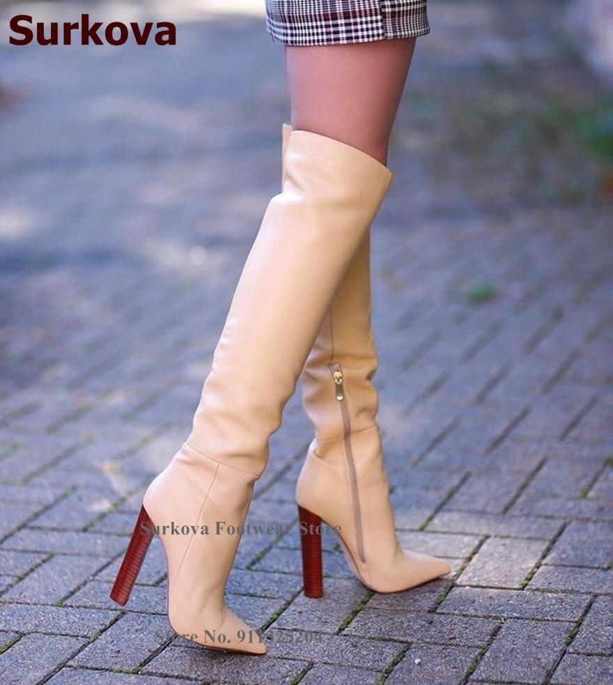 Surkova السيدات خشبية نمط حذاء بكعب سميك الركبة أحذية عارية الأسود أشار تو أحذية طويلة المرقعة فستان أحذية Size46 دروبشيب