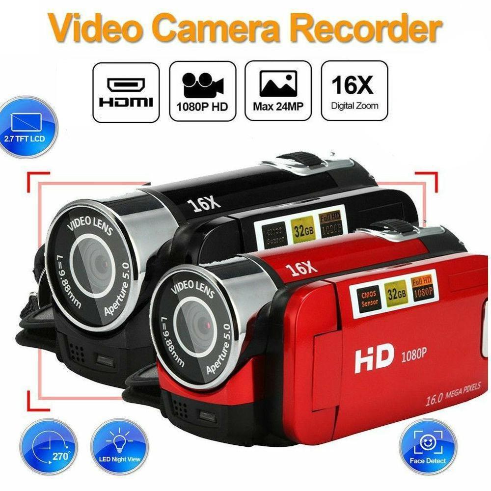كاميرا رقمية احترافية 1080P ، كاميرا فيديو عالية الدقة مع رؤية ليلية واضحة ، مضادة للاهتزاز ، مع ضوء LED