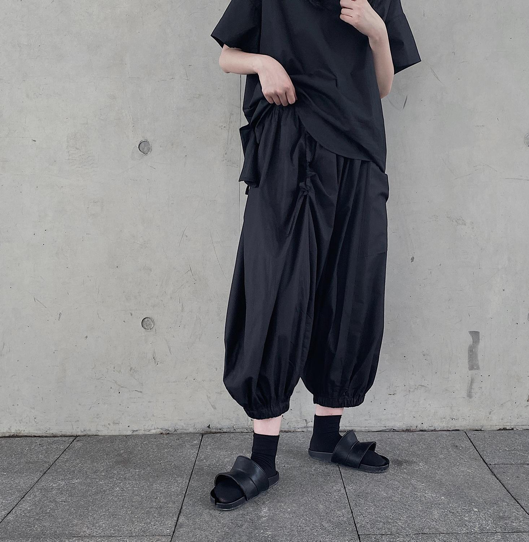 Yamamoto dark, летние нишевые Дизайнерские широкие брюки-кюлоты с кулиской и широкими штанинами
