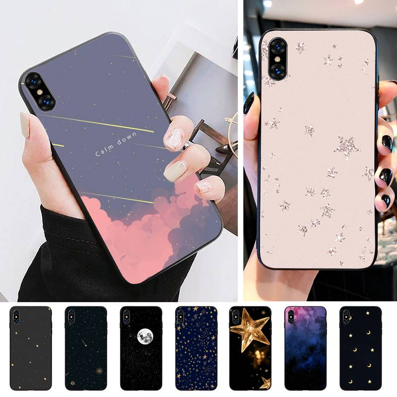 Minimalismo stule brilhante estrela caso de telefone para iphone 11 pro max 8 7 6s plus xr xsmax x xs se caso de telefone macio