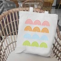 hipster rainbow print female tote bags aesthetic canvas shopper bag white black casual women shopping bag bolsas