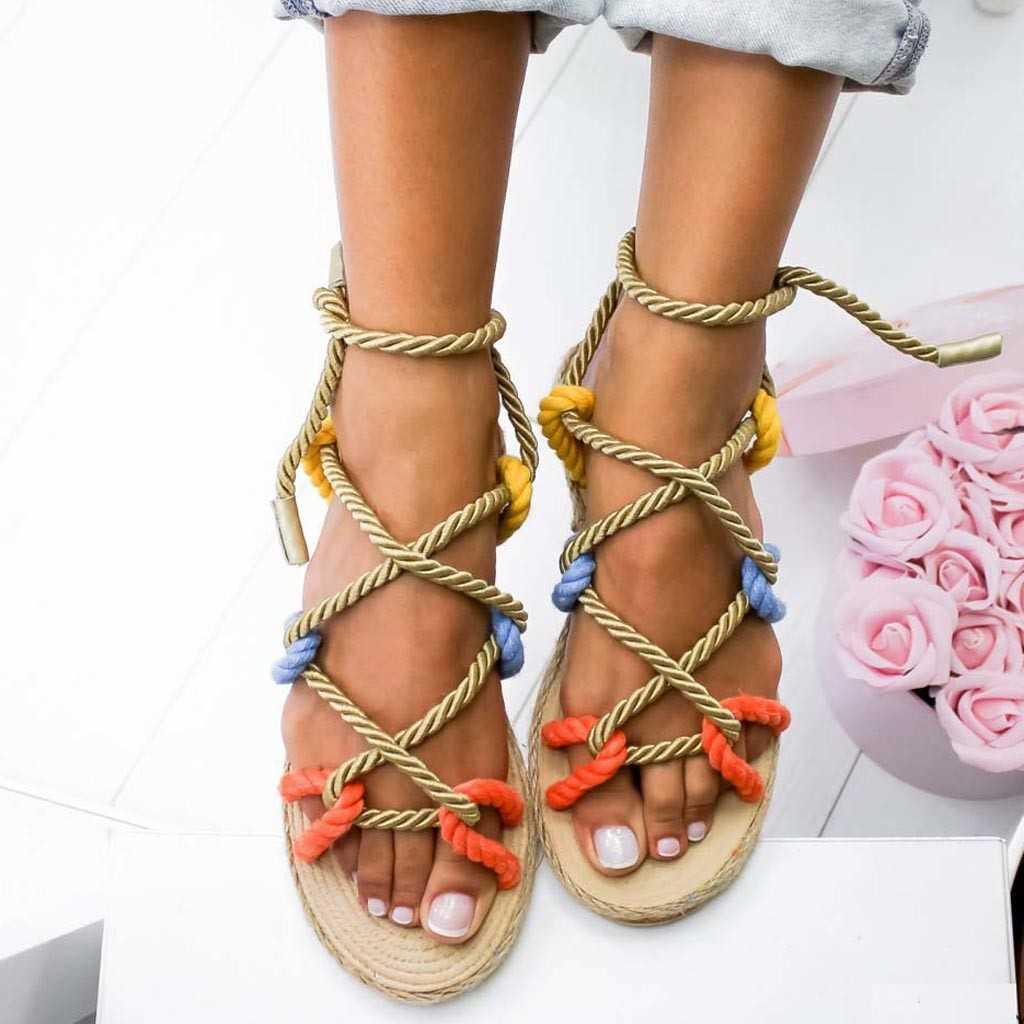 Corda com Estilo Tradicional e Criatividade Novas Sandálias Mulher Sapatos Trançado Casual Simples Moda Femininos Verão 2021