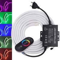 rgb neon strip light with full touch rgb controller 2835 110v 220v led ribbon flexible light ip67 waterproof led strip neon sign