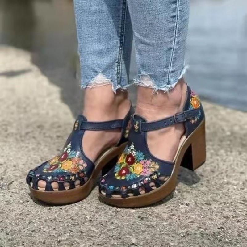 Newest Women Sandals Hollow Out Ladies Footwear Square Heel Printed Buckle Strap Casual Outdoor Beach Female Shoes