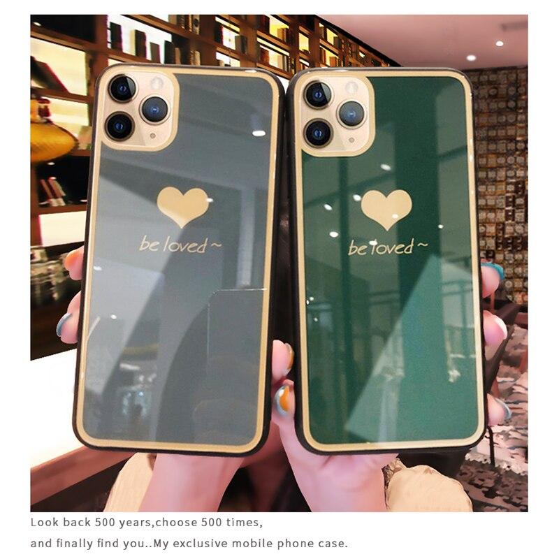 Funda corazón amor cristal para iPhone 11 Pro Max 6 6s 7 8 Plus X 10 XR XS Max funda trasera ultrafina para Huawei P30 P30 Pro