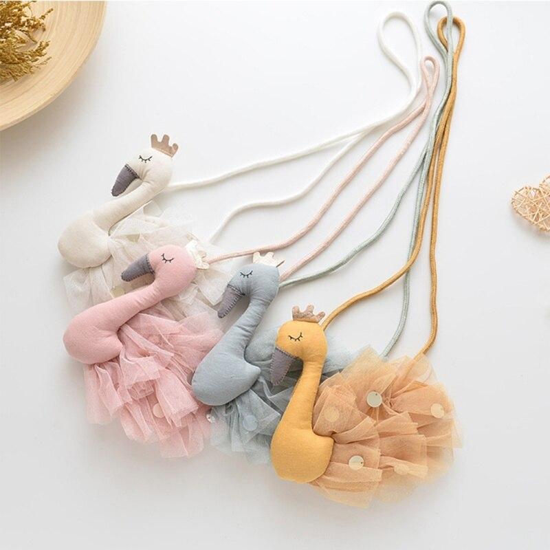 Kids Girls Handbag Children Cotton Cartoon Swan Bag Girls Fabric Diagonal Baby Cute Animal Coin Purse