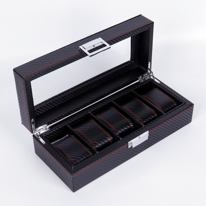 Slots de Luxo Caixa de Relógio de Fibra de Carbono Caixa de Armazenamento de Relógio de Qualidade Superior para Relógios Moda Masculina Casa Preta Masculinos 0907-14 5 Cor