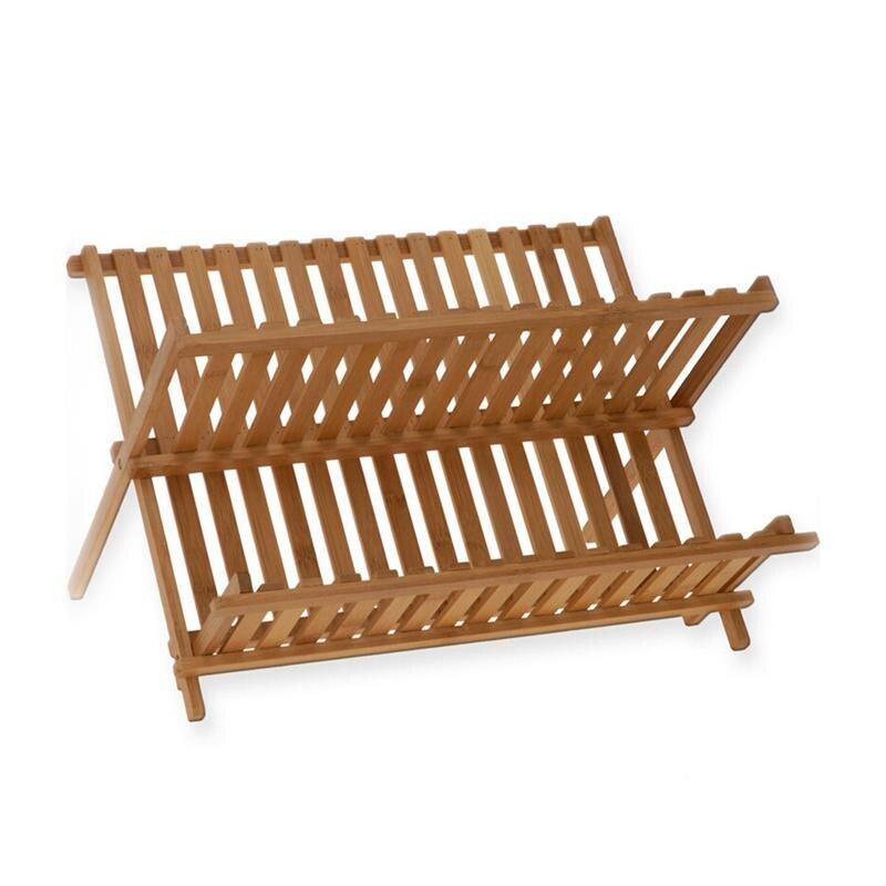 SHGO حار للطي الخيزران طبق رف تجفيف حامل أرفف إناء تجفيف لوحة حامل التخزين لوحة خشبية أطباق طبق رف