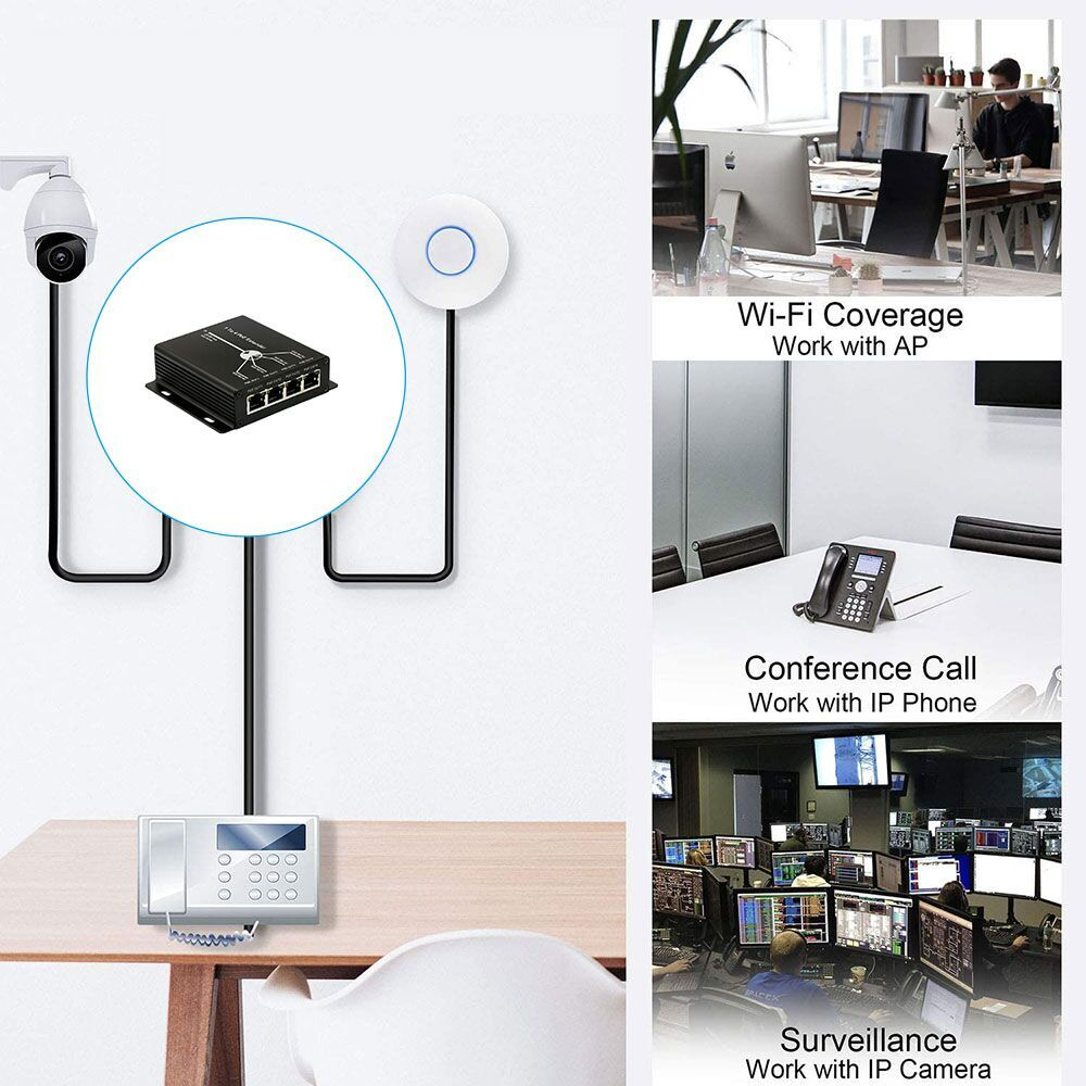 4 Ports PoE Extender work for Network IP 720P 1080P Network 1 input 4 Output camera Extend transmission distance up to 120m enlarge