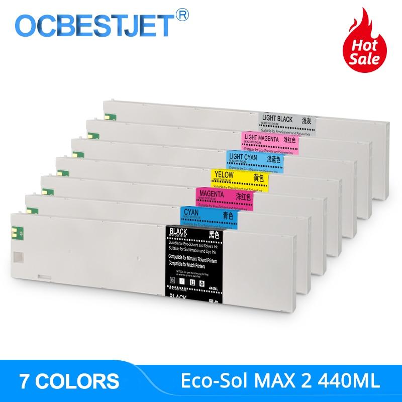 440 مللي ECO-SOL ماكس 2 MAX2 استبدال خرطوشة حبر ESL4 لرولاند سولجيت XR-640 XF-640 VersaExpress RF-640 LK (7 ألوان/مجموعة)