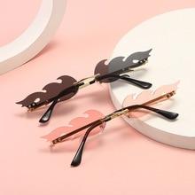 2021 Fashion Fire Flame Sunglasses Women Men Rimless Wave Sun Glasses UV 400 Eyewear Trending Narrow